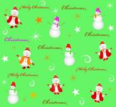 Seamless christmas background snowman and snowflakes — Stock Vector