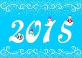 Priorità bassa festiva Capodanno 2015 e pupazzo di neve divertente — Vettoriale Stock