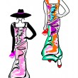 Two models of fashionable dresses — Stock Vector #61247407