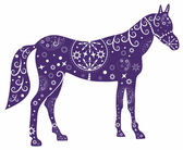 Painted blue horse.Illustration with decorative pattern — Vettoriale Stock
