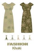 Fashion dress khaki color palette — Stock Vector