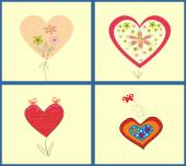 Abstract vector illustration set of hearts — Stock Vector