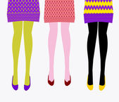 Girls in knitted skirts with beautiful legs and shoes — Stock Vector