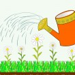 Hand watering can and flowers — Stock Vector #76736869