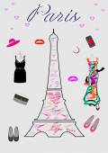 女性のためのファッション パリでのショッピング — ストックベクタ