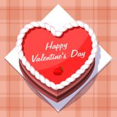 Vector. Valentine in the form of a cake on Valentines Day. — Stock Vector