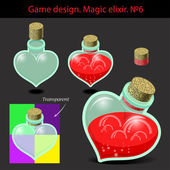 Vector illustration. Magic elixir in different colors with a woo — Stock Vector