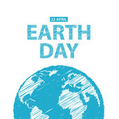 Earth Day in blue colors. Vector illustration. Pencil drawing ef — Stok Vektör