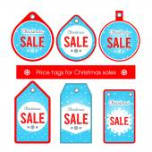 Vector. Set creative tags and stickers with Christmas sale blue — Stock Vector
