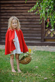 Cute blonde child girl in red cape with basket of flowers playing little red riding hood in summer garden — Stock Photo