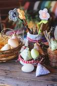 Handmade easter decorations in country house — Stock Photo