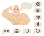 Bodybuilder torso with speech bubbles. Tense face — Vettoriale Stock