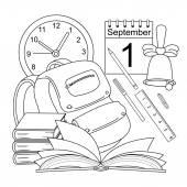 Vector cartoon style line-art school icons — Stock Vector