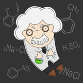 Old brainy professor vector — Stock Vector