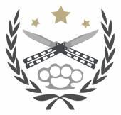 ライン アートのロゴが白で隔離 — ストックベクタ