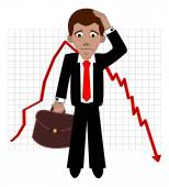 Shares fall, sad broker — Stock Vector