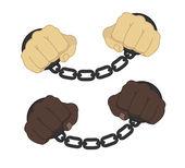 Male hands in  steel handcuffs — Stock Vector