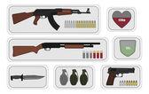 Vojenské zbraně pack ikony pro hru — Stock vektor