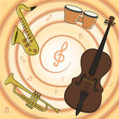 Set of jazz music instruments — Stock Vector