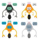 Robots with pixel monitors — Stock Vector
