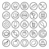 Food and drinks linear icons set — Stock Vector