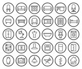 House furniture linear icons set — Stock Vector