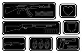 Game resources, military weapons icons — Stock Vector