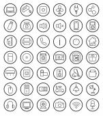 Household linear icons set — Stock Vector