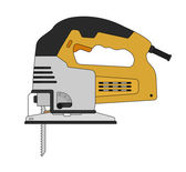 Electric carpentry jig saw tool — Stock Vector