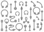Set of body piercings jewellery — Stock Vector
