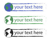 Text boxes with planet earth icon — Stock Vector