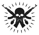 Skull two grenades two crossed assault rifles — Stock Vector