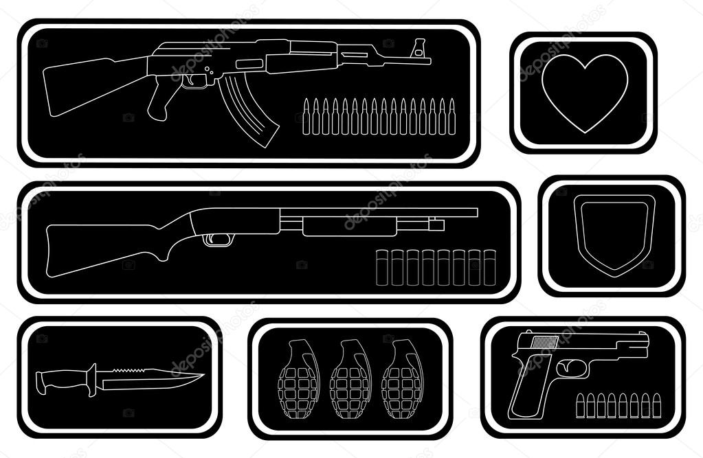 Game resources, military weapons icons — Stock Vector © bsd #75625341