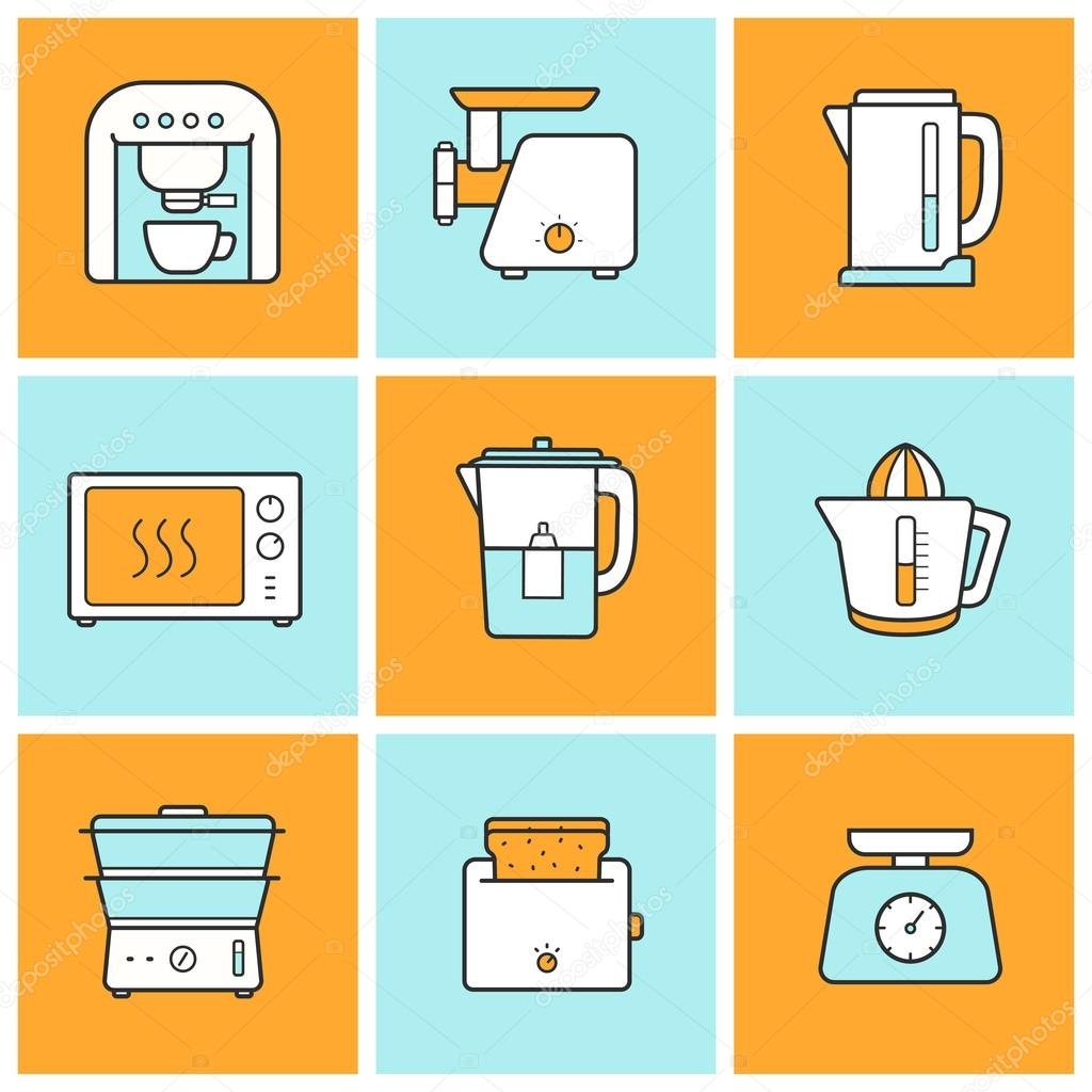 Kitchenware kitchen equipment icons set — Archivo Imágenes  #CB7C00 1024 1024