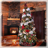 Beautiful instagram of cottage christmas tree and fireplace  — Stock Photo