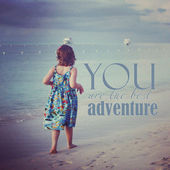Instagram of young girl walking on tropical beach with quote  — Stock Photo