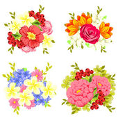 Set of different flowers — Stock Vector