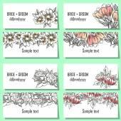набор цветочных приглашения — Cтоковый вектор