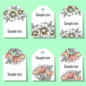 Set of floral labels — Stock Vector