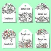 Set of floral labels — Vector de stock