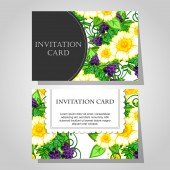 Invitations with floral background — Stock vektor