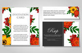 Invitations with floral background — Vetor de Stock
