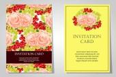 花の背景での招待状 — ストックベクタ