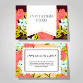 Invitations with floral background — Διανυσματικό Αρχείο