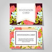 Çiçek arka plan ile davetiyeleri — Stok Vektör