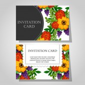 Invitations with floral background — Stock Vector