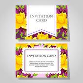 Invitations avec fond floral — Vecteur