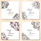 Set floral uitnodigingen — Stockvector