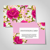 Invitations with floral background — Cтоковый вектор