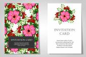 Invitations with floral background — Vettoriale Stock